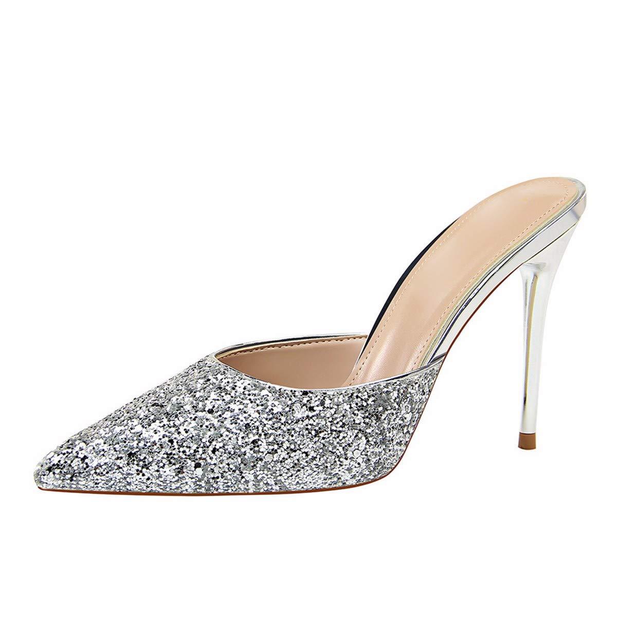 GTVERNH Damenschuhe/Mode/Metall mit Dünner Sohle 10Cm Hohen Ferse Flach Wies mit Mode Einfache Pailletten Baotou Pantoffeln Weibliche Cool Ziehen.