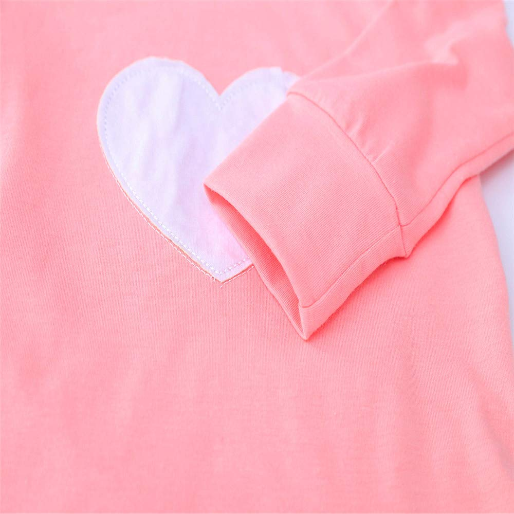 Lurryly❤Newborn Baby Boys Girls Long Sleeve Tops Heart Print T Shirt Clothes Outfits 0-2T