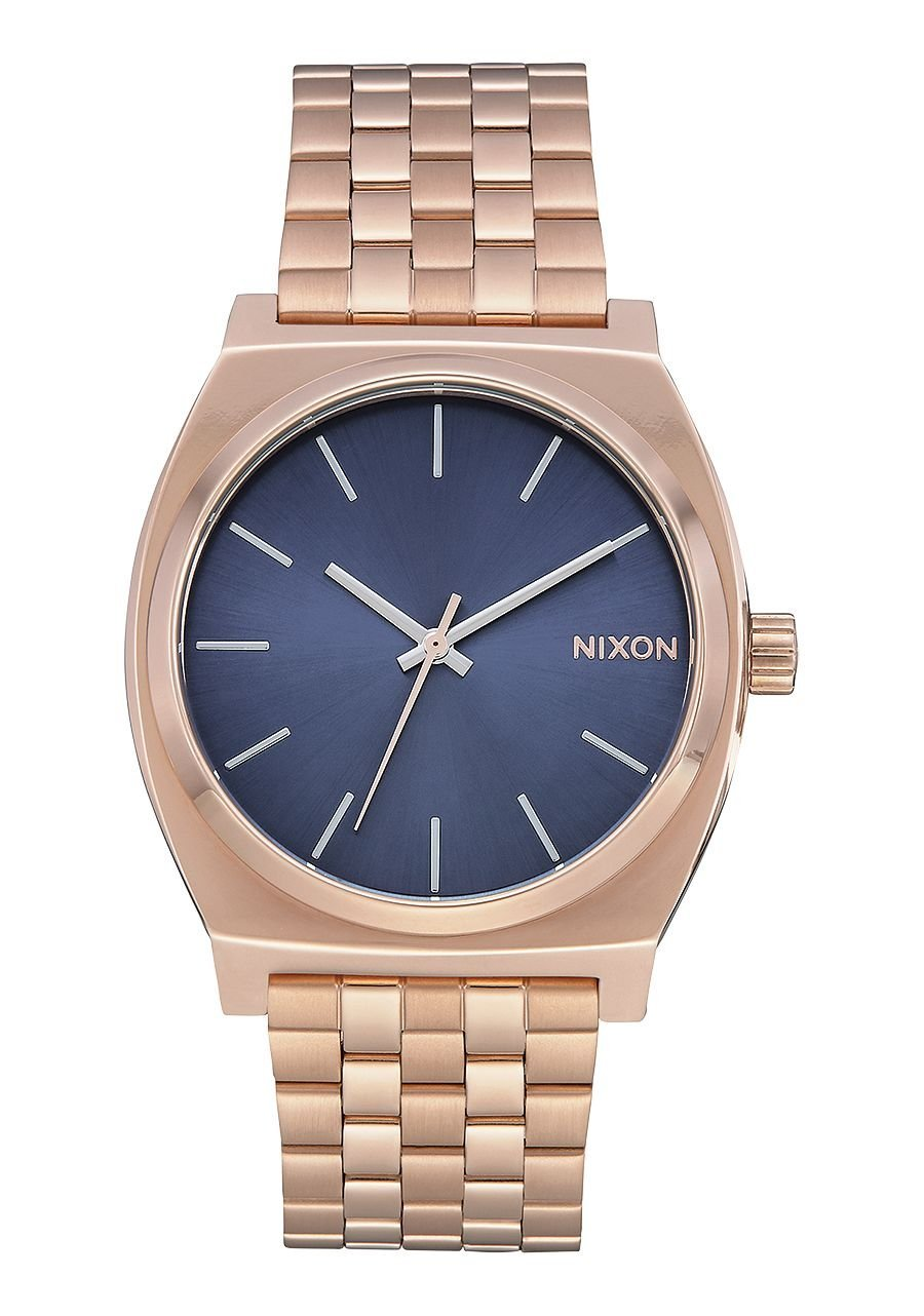 Men's Nixon Time Teller Stormy Blue Dial Rose Gold-Tone Stainless Steel Watch A0453005