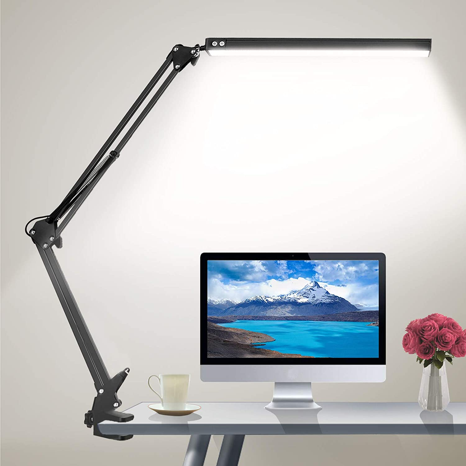 HaFundy LED Desk Lamp,Adjustable Eye-Caring Desk Light with Clamp,Swing Arm Lamp Includes 3 Color Modes,10 Brightness Levels Table Lamps with Memory Function,Desk Lamps for Home,Office,Reading(Black)