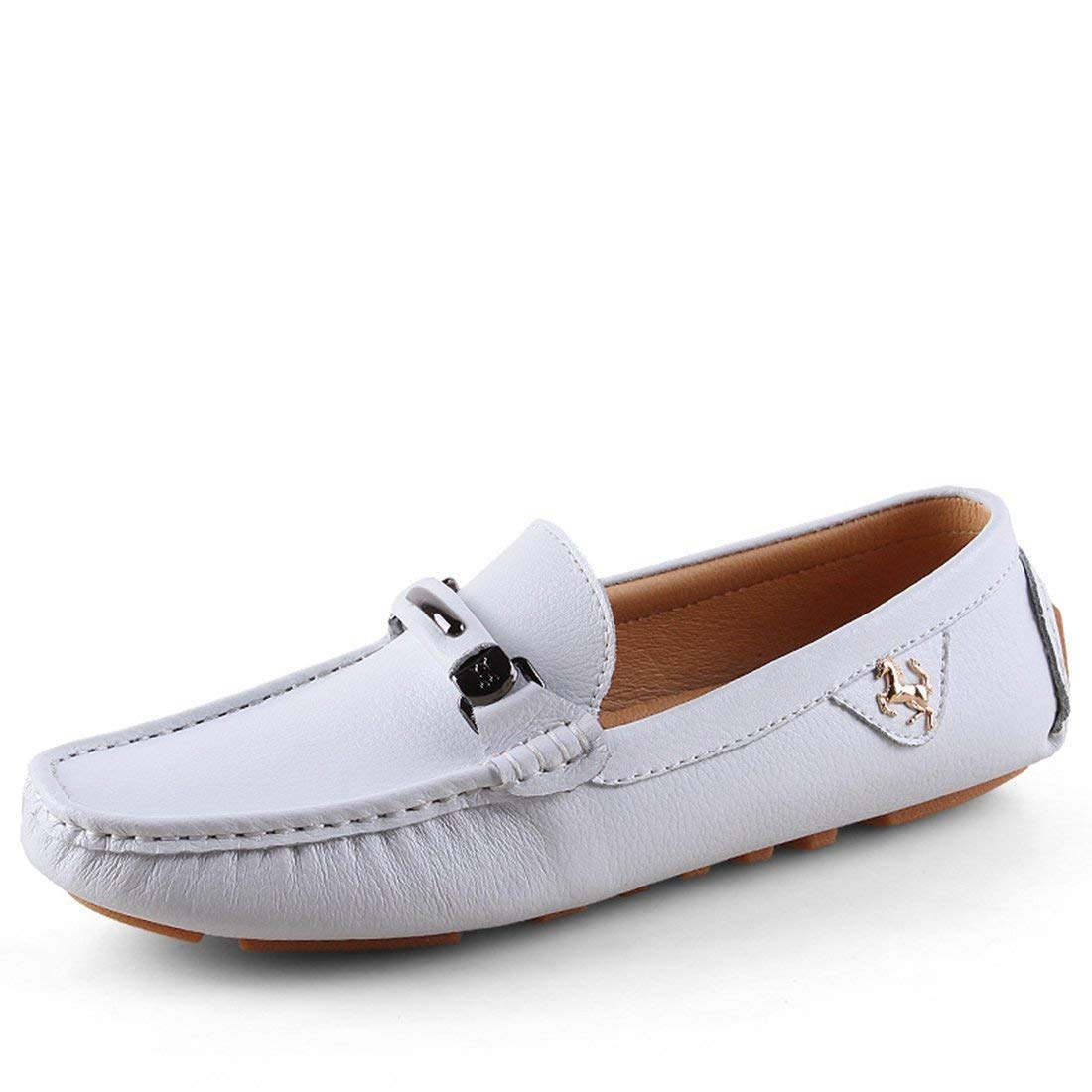 White Qiusa Boy's Men's Bows Stitched Slip-on Classic Spring Summer Loafers (color   Dark bluee, Size   9.5 UK)