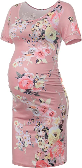 Narcissus Maternity Dress For Baby Shower Photography Bodycon Pregnancy Dresses Floral Pink S At Amazon Women S Clothing Store