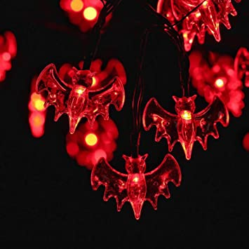 recesky red bat string lights led ft battery operated halloween string lights for with indoor halloween