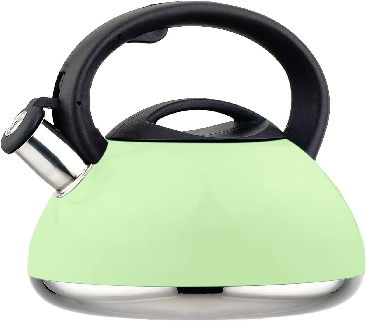 HausRoland Tea Kettle Stainless Steel Whistling 3.2-Quart Stove Top Induction Modern Candy Color Kettle Teapot (GS-04015A-734B, Green)