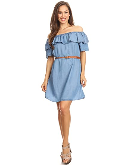 d377e69acc Anna-Kaci Off Shoulder Comfy Casual Chic Throw On   Go Chambray Denim Slip  Dress