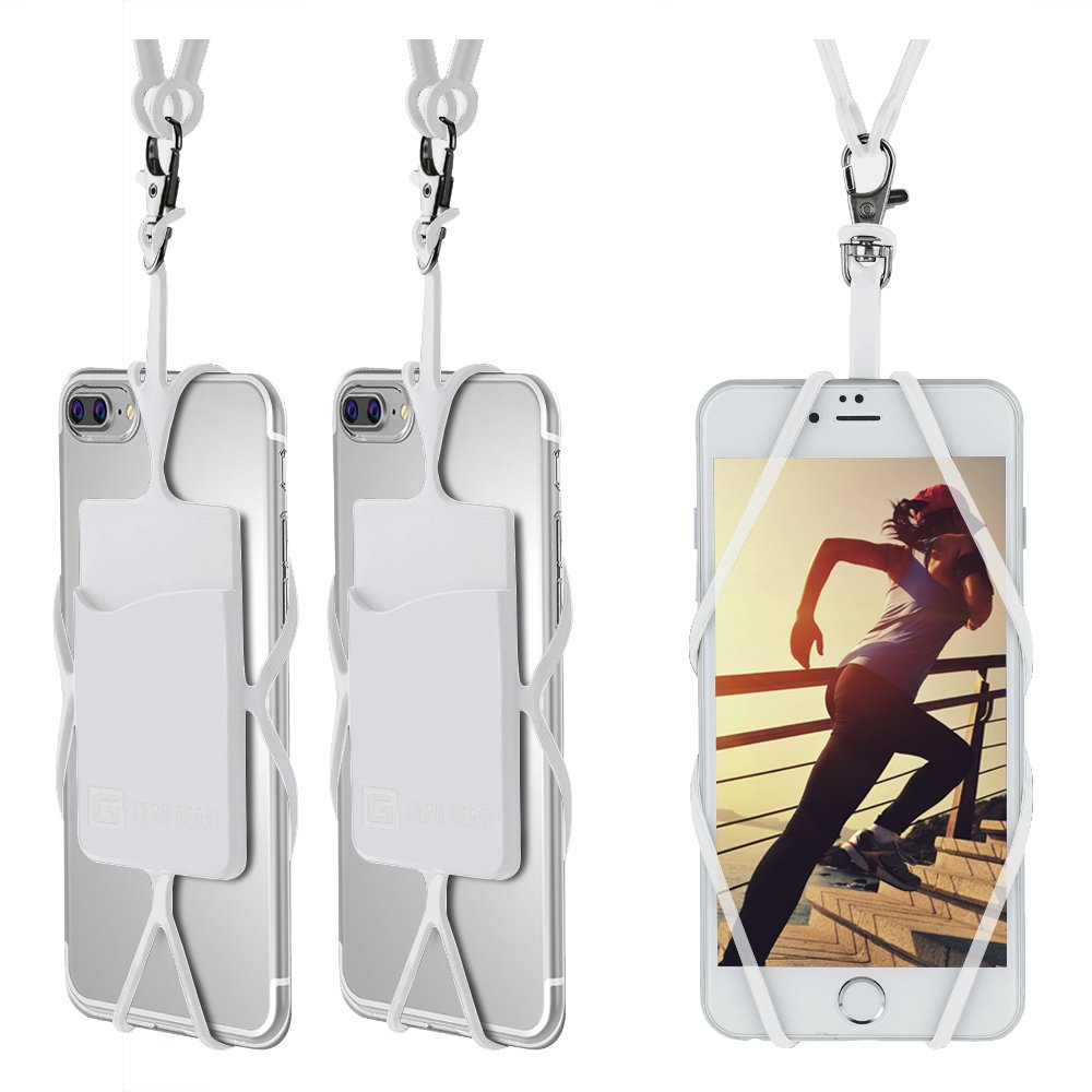 Gear Beast Universal Cell Phone Lanyard Compatible iPhone, Galaxy & Most Smartphones Includes Phone Case Holder Card Pocket, Silicone Neck Strap LAN-UNV-ARC