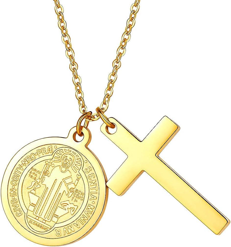 FaithHeart Medalla Milagrosa de San Benito de Nursia Collar Colgante de Acero Inoxidable Joyería Religiosa para Hombre y Mujer Talismán Amuleto