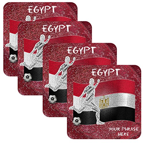 Azty Designs Set 4 Personalized Custom Coaster Futbol Soccer World Cup Country Teams Football Your Name Egypt