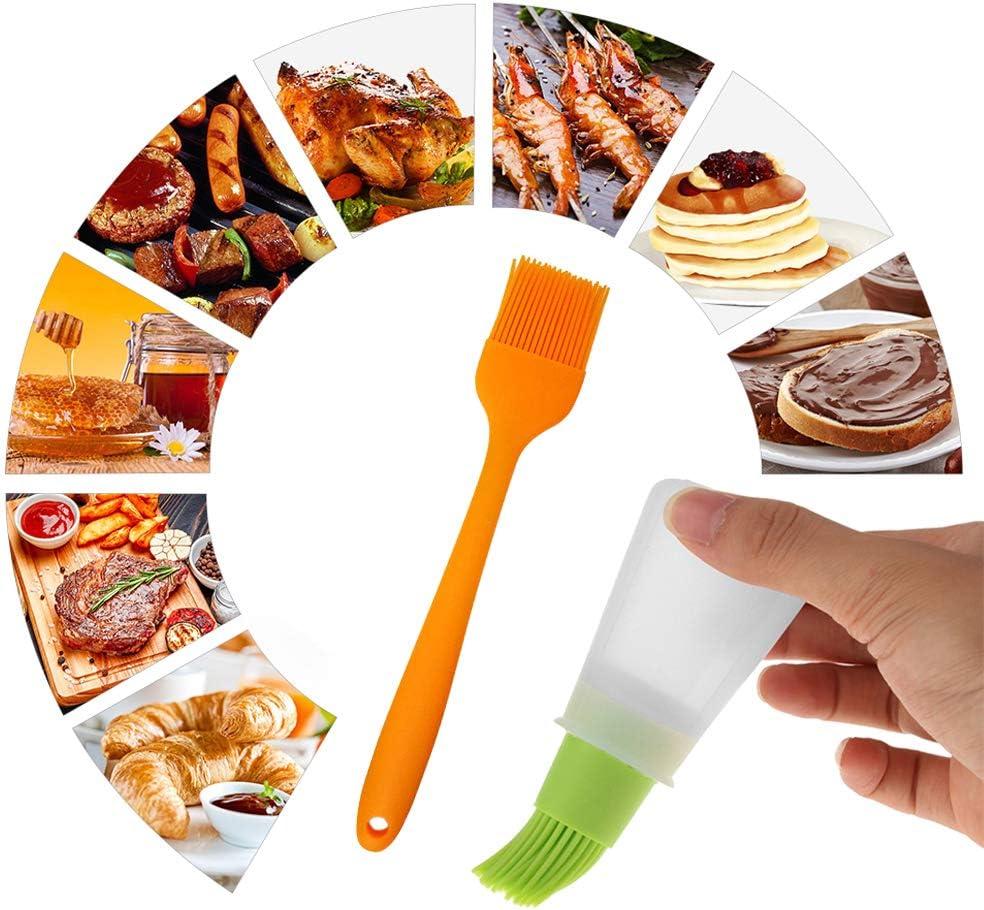 Bouteille dhuile en silicone avec pinceau pour barbecue viande cuisson cr/êpes l/égumes grill p/âtisserie r/ésistance /à la chaleur brosse flexible squeeze blanc