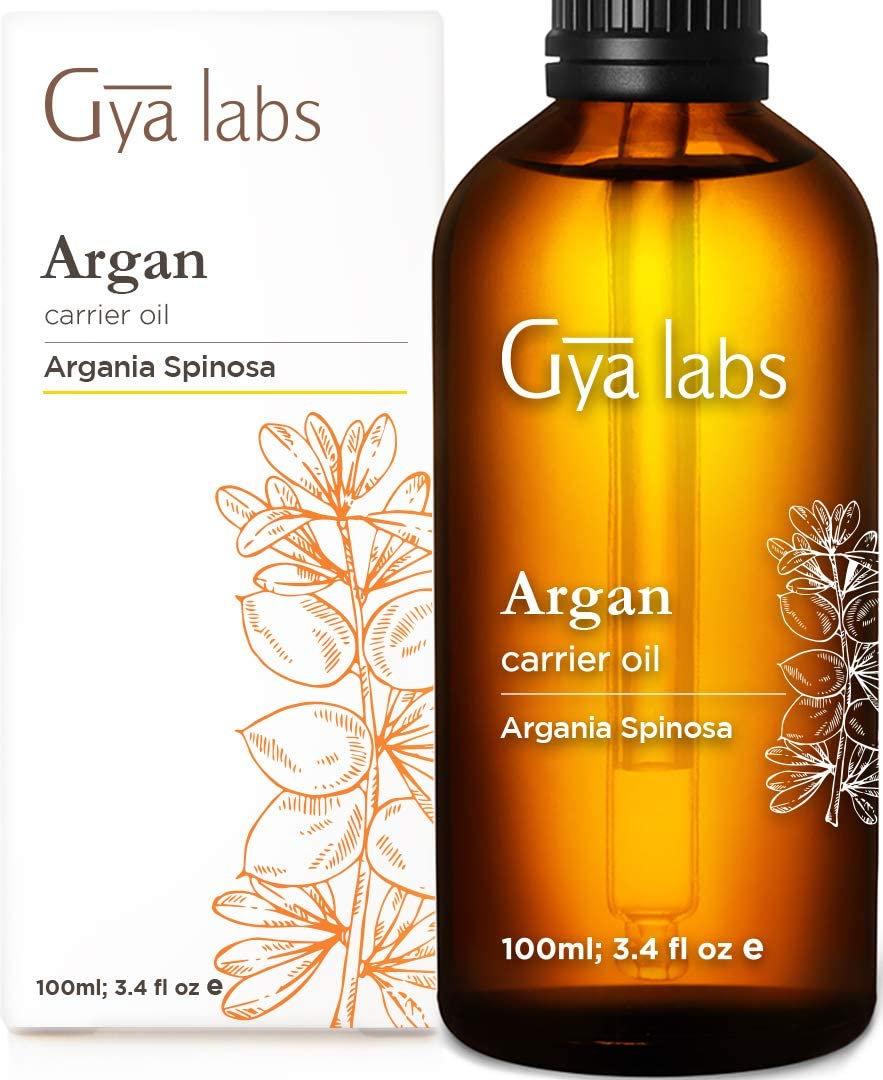 Gya Labs Organic Moroccan Argan Oil for Hair, Clear & Hydrated Skin - 100% Pure, Natural & Cold Pressed Carrier Oil Hair Oil Moisturizer for Damaged Hair Treatment, Dry Scalp, Skin & Face (100 ml)