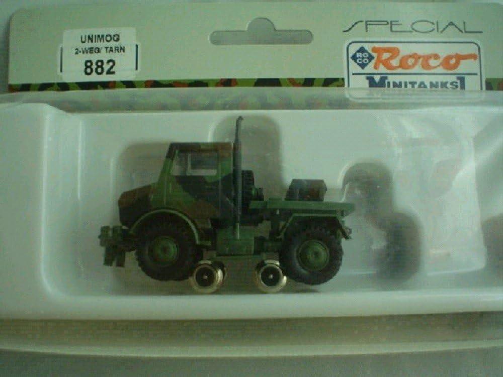 Roco 47178 2-Achser Rungenwagen mit Unimog grün 1:87 Spur H0 OVP