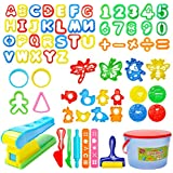 Mysterystone 69 Pcs Play Dough Tools Kit Clay Dough Party Pack with Letters, Numbers, Operator, Doh Extruder Machine, Stamps, Cutters, Molds- Mega Tool Playset in Storage Bucket (Random Color)