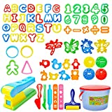 Mysterystone 69 Pcs Play Dough Tools Kit Clay Dough Party Pack with Letters, Numbers, Operator, Doh Extruder Machine, Stamps, Cutters, Molds- Mega Tool Playset in Storage Bucket