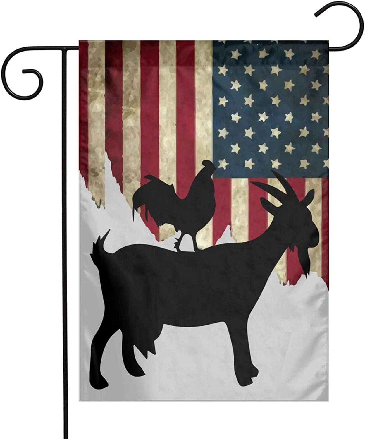 Jpnvxie Goat and Rooster Garden Flags Labrador Black Labs Matter Welcome Large Yard Double Sided House Flag Banners for Patio Lawn Home Outdoor Decor 12.5x18In