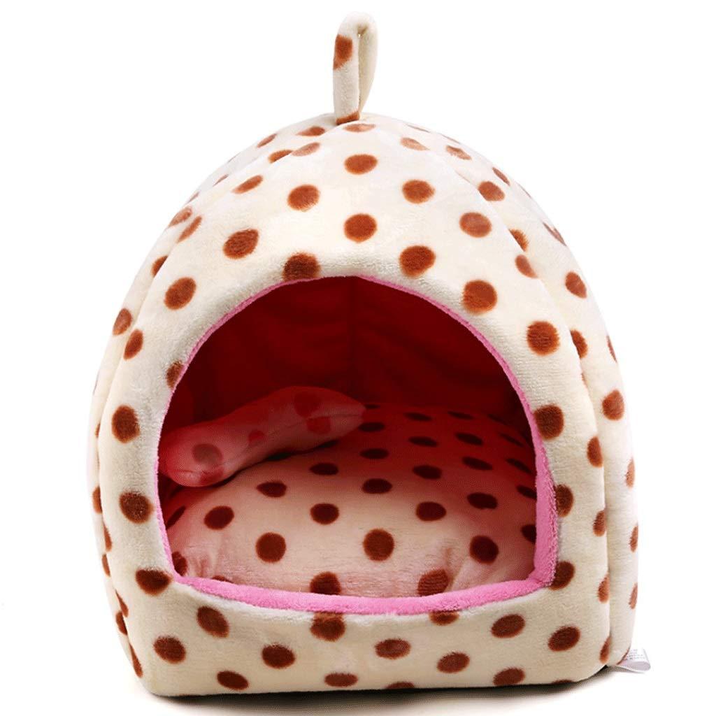 Brown dots L (45X45X41CM) Brown dots L (45X45X41CM) Flannel Closed Yurt Pet Nest Safety Wave Point Deep Sleep Cat Litter Pet Supplies (color   Brown dots, Size   L (45X45X41CM))