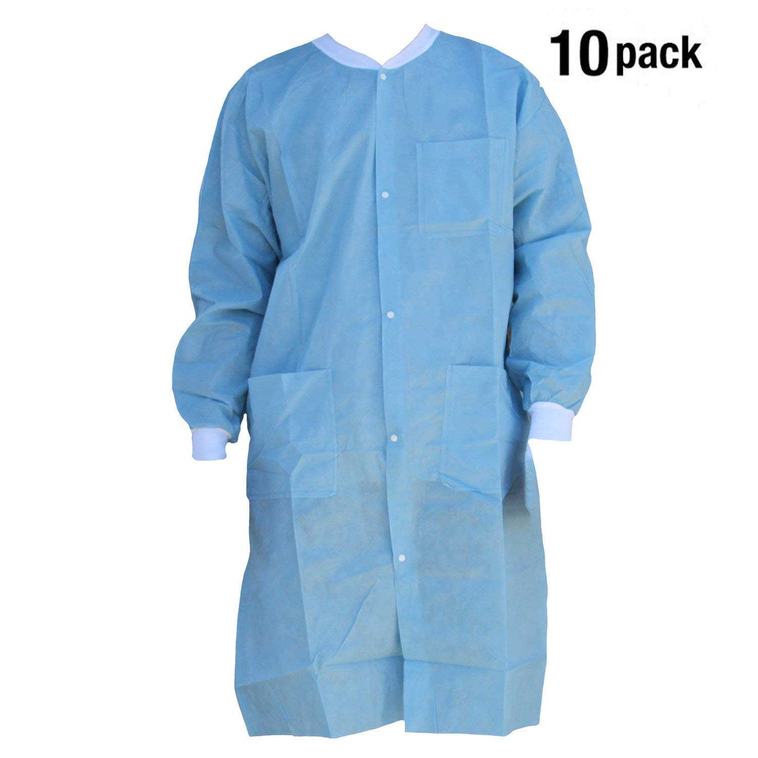 Vivid Professional Lab Coat for Laboratory with 5 Button Closure, Ceil Blue, Pack of 10 (Large, Ceil Blue)