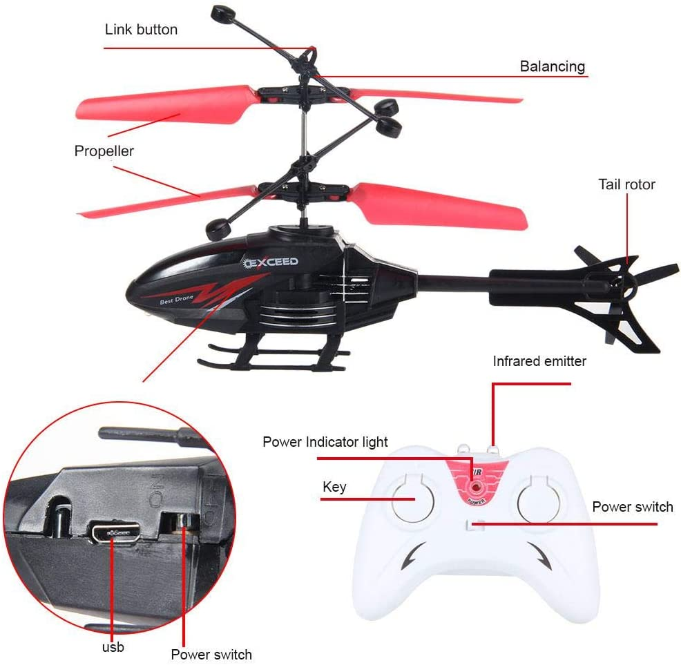 Xmas Mini Gift Helicopter Toy Radio Remote Control Aircraft Kids Christmas Gifts