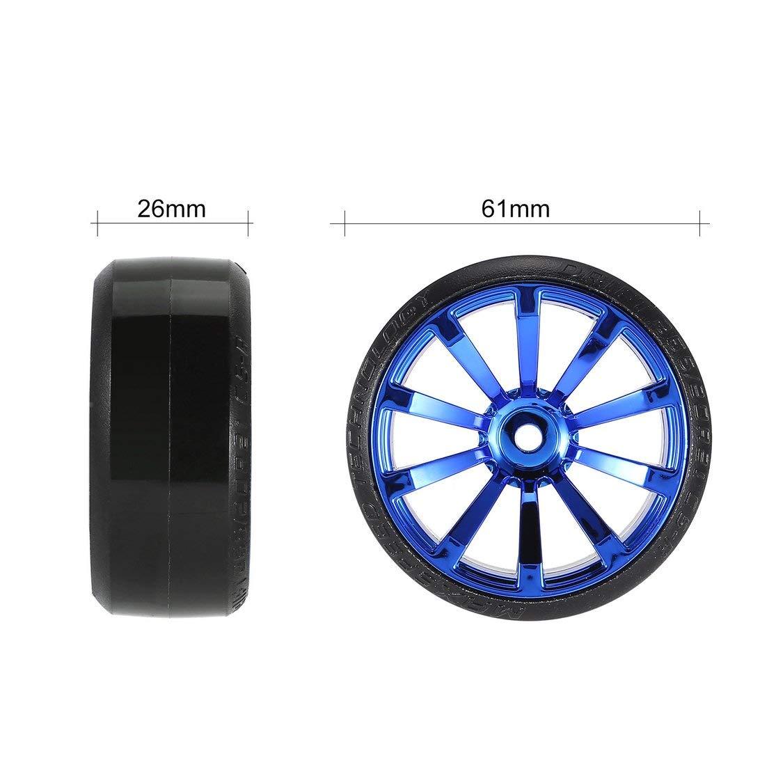 Candybush 4Pcs 1//10 RC Drift Car Tire Wheel Rim Hard Wheel Tyre for Traxxas HSP Tamiya HPI Kyosho On-Road Drifting Car RC Vehicle Part