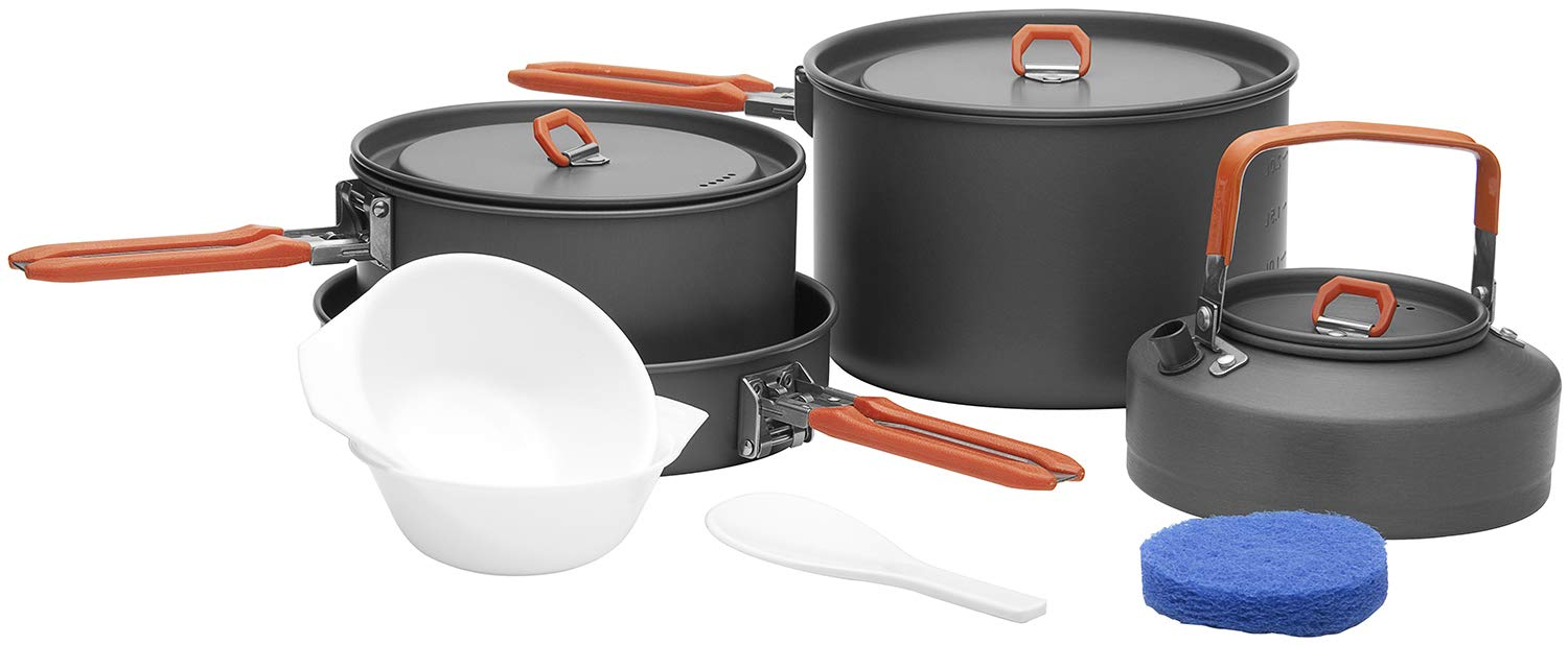 Fire-Maple Camping Cookware Set with Pot, Kettle, Pan for 4 People Feast4, Easy to Clean Hard Anodized Aluminum, 8 Piece Pot and Mess Kit, Essential Pots and Pans Set, Camping Gear and Accessories by Fire-Maple
