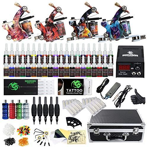 (Beginner Complete Tattoo Kit 4 Machine Gun Power Supply Set Grip Tattoo Inks Needles Tattoo Supplies)