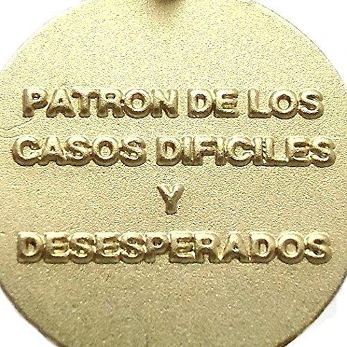 Médaille pendentif 18k 18mm or St. Jude Thaddée. Inscription [7209]