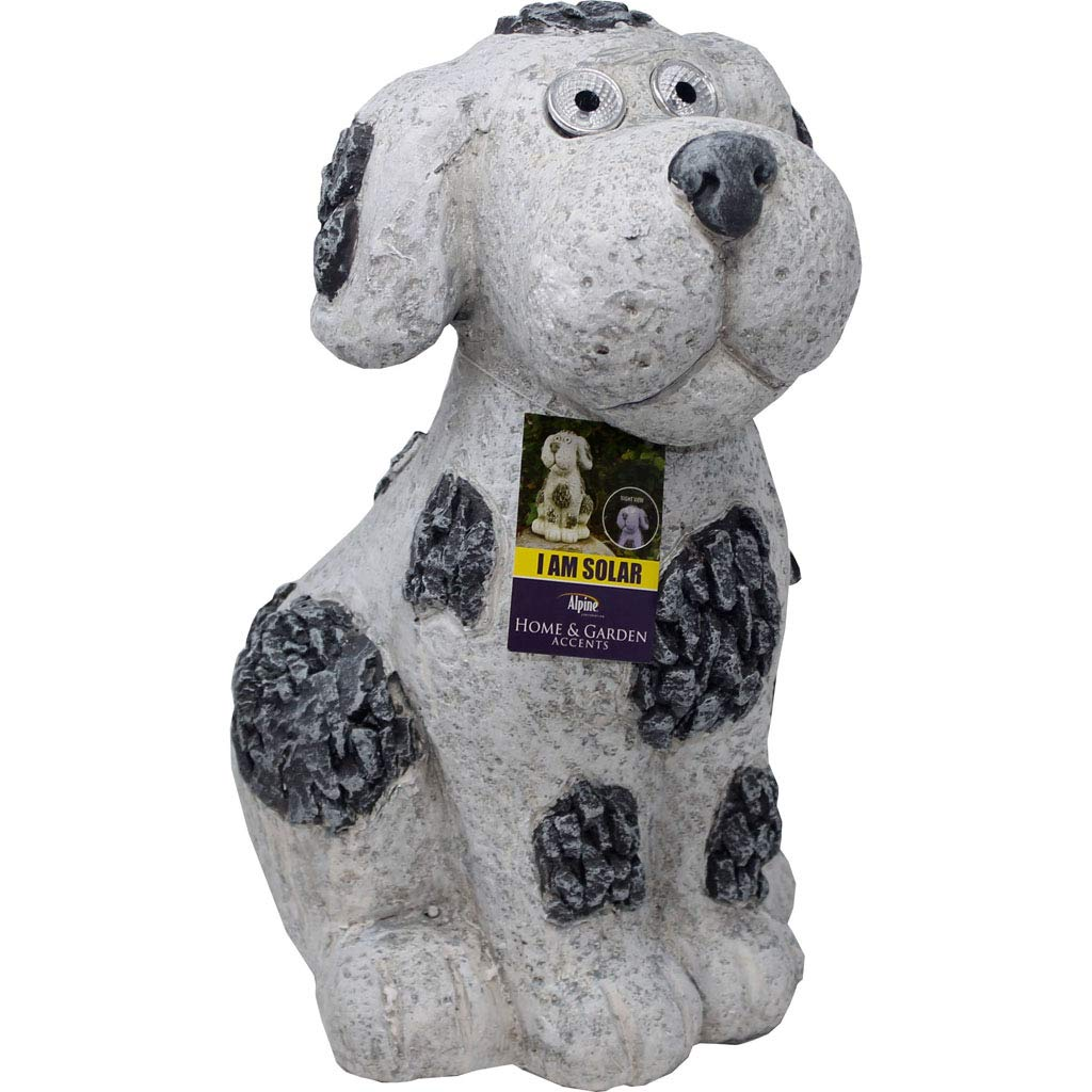 Solar Slate Dog Garden Statue with LED Lights - 14 in.