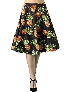 3c208aa95de6 Fancyqube Women's Vintage Pleated A-line Floral Avocado Unicorn Sloth Midi  Skirt