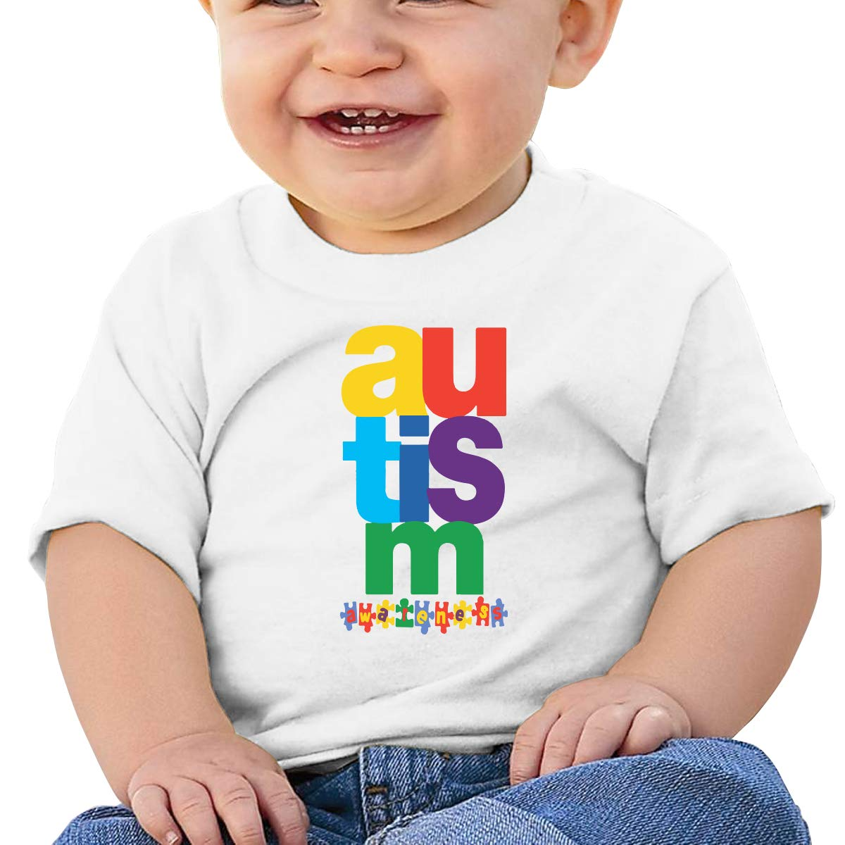 Autism Awareness Baby Boys Girls Short Sleeve Crew Neck Tee Shirt 6-18 Month Tops
