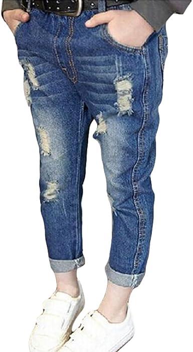 Yying Denim Pantalones Para Bebe Ninos Suave Cintura Elastica Vaqueros Rotos Moda Primavera Otono Casuale Denim Jeans Para Ninas Amazon Es Ropa Y Accesorios