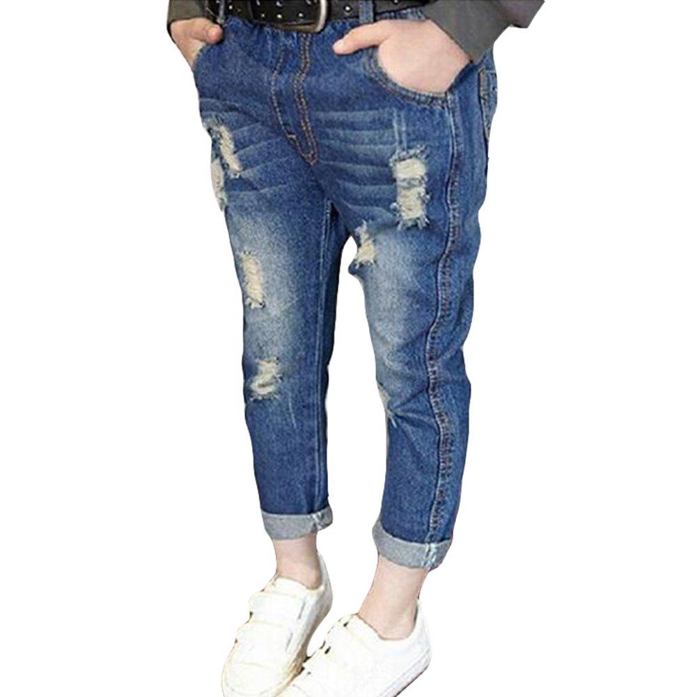 Denim Pantalones para Bebé Niños Suave Cintura Elástica Vaqueros Rotos Moda Primavera Otoño Casuale Denim Jeans para Niñas D180320KZ2-Y