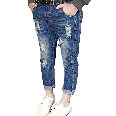 Yying Denim Pantalones para Bebé Niños Suave Cintura Elástica Vaqueros Rotos Moda Primavera Otoño Casuale Denim Jeans para Niñas