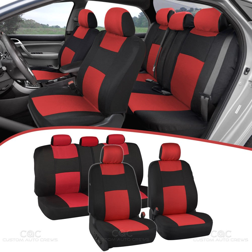 Amazon Com Bdk Polycloth Black Red Car Seat Covers Easywrap Two