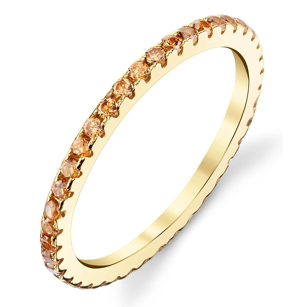 14K Yellow Gold over 925 Sterling Silver Stackable Ring Wedding Band Eternity Cubic Zirconia Champagne