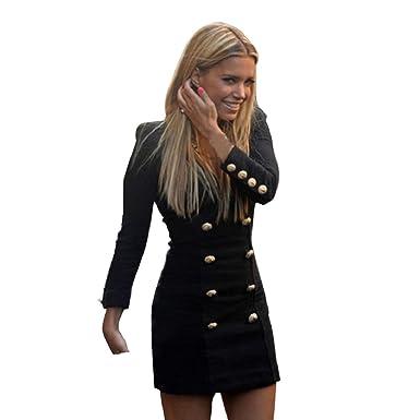 96b09099106 Chianrliu Femme Nouvelle Slim Long Manches Boutons Occasionnels Bodycon  Mini Robe De Cocktail (36)