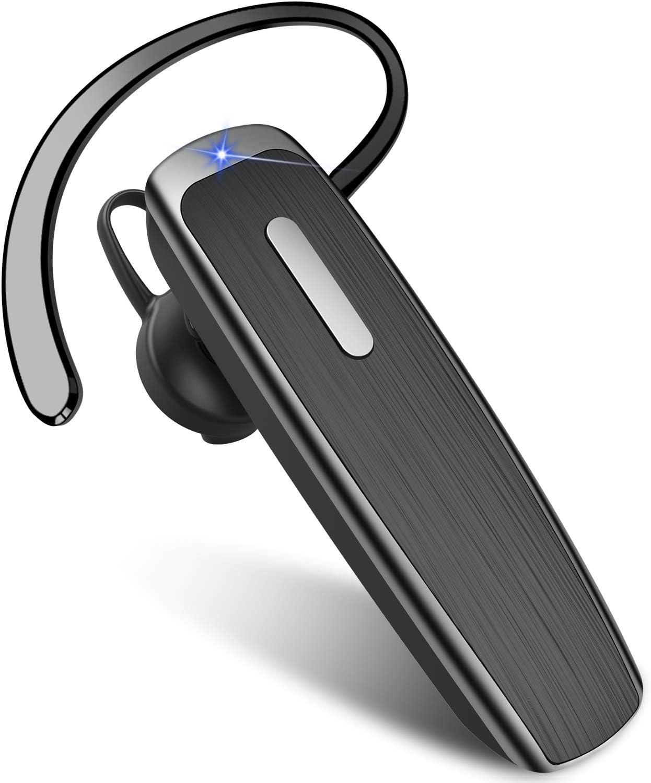 New Bee Manos Libres Auricular Bluetooth, Auricular Inalámbrico Bluetooth 5.0 Bluetooth Teléfono con Cancelación de Ruido 22H Tiempo de Funcionamiento para iOS Android Taxista (Negro)