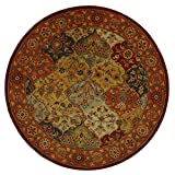 Safavieh Heritage Collection HG510B Handcrafted Traditional Oriental Multi and Red Wool Round Area Rug (6' Diameter)