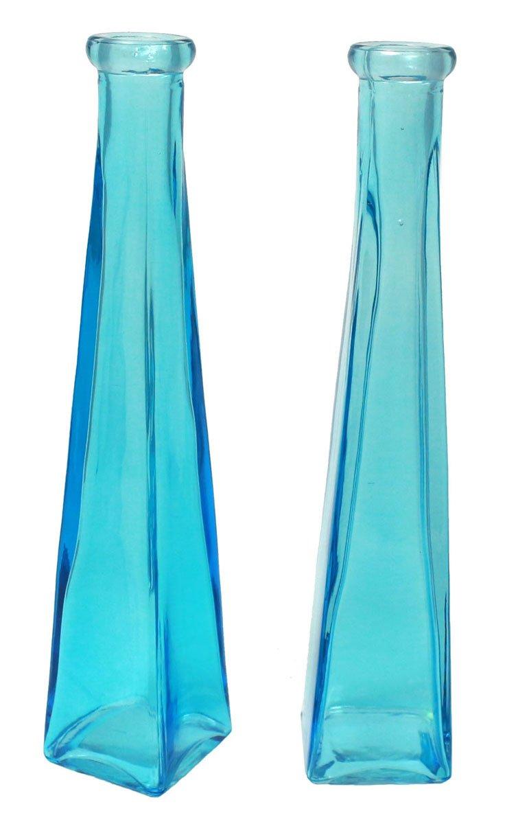 JustNile Set of 2 Glass Decorative Teal Flower Vase, Modern Transparent Turquoise Blue Home Accent Decor, Elegant Tabletop Wedding Centerpiece, 9'' Tall