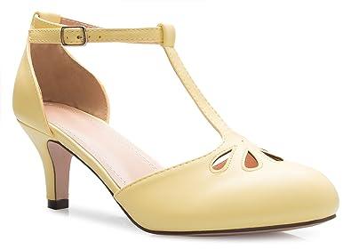 amazon com olivia k women s kitten low heels t strap pumps