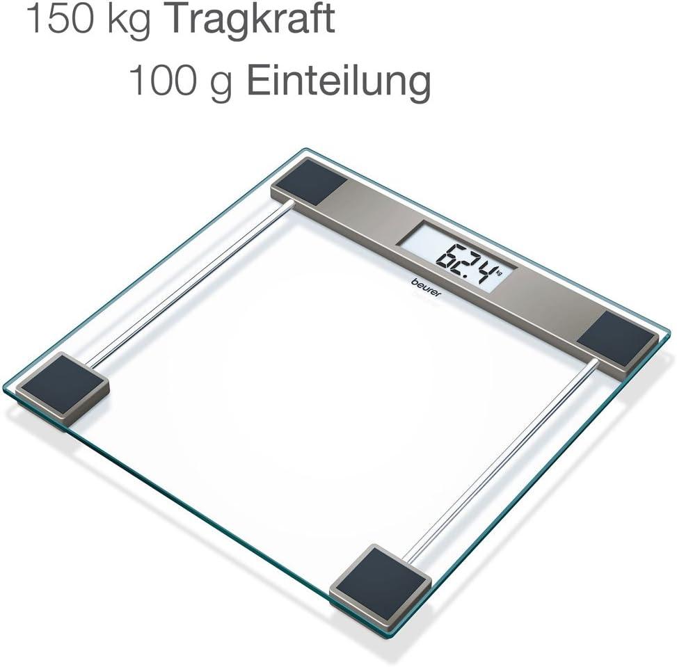 Beurer GS11 Báscula digital de baño con pantalla LCD, digitos grandes, capacidad 150 kg, plataforma vidrio, apagado automático, vidrio transparente: Amazon.es: Salud y cuidado personal