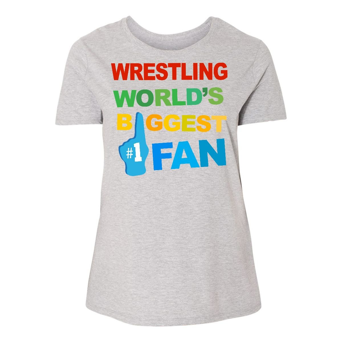 inktastic Wrestling Biggest Fan Women's Plus Size T-Shirt 4 (26/28) Steel Grey by inktastic