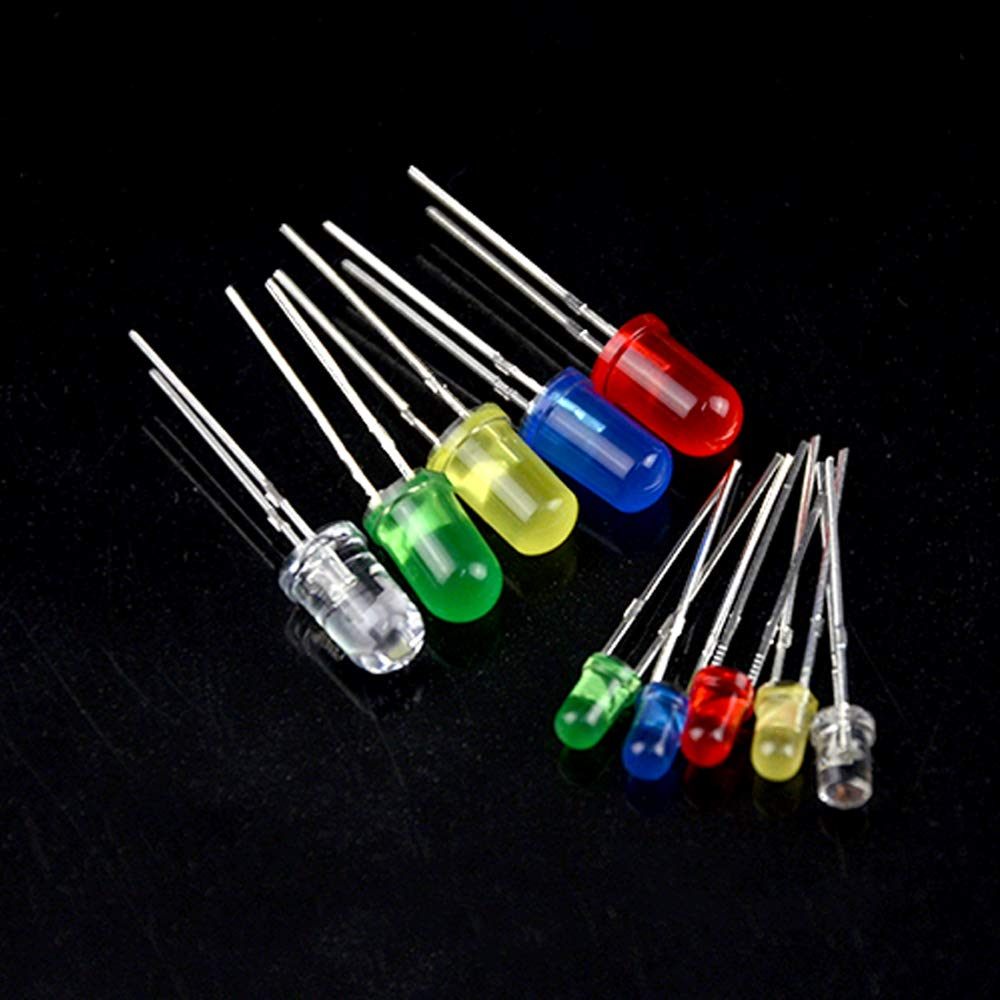 XLX 500PCS 10 Values 5 Colors 3mm and 5mm LED Light Emitting Diodes Assorted Kit Electrical Components for Lighting Bulbs and Lamps Red Yellow Blue Green White