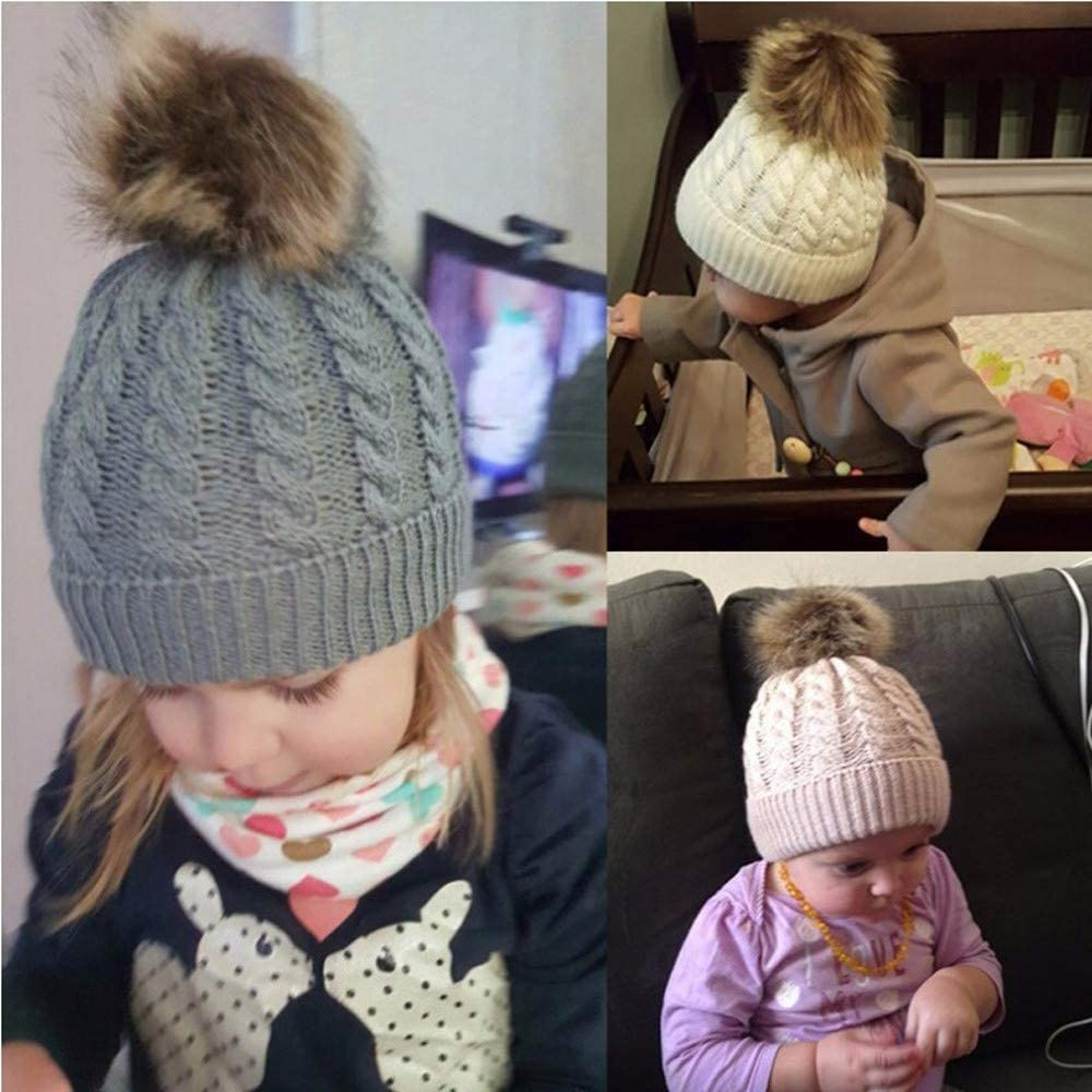 Beige Diadia Baby Pom Pop Hat Winter Toddler Hats Knitted Hemming Fur Ball Wool Skullies Beanies Ear Guard Baby Hat Kids Boy Hats Knitted Hemming Cap