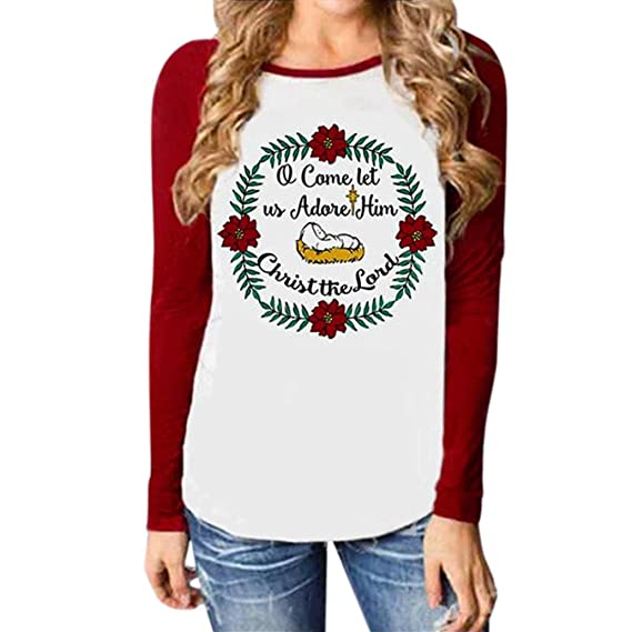 Koly Mujer Camiseta Manga larga Empalme Blouse Tops otoño invierno Ropa Sudaderas Alegre Navidad Moda Carta