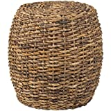 East At Main Palo Brown Abaca Round Accent Table, (19x19x19)