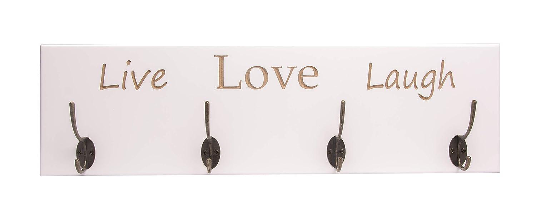 Perchero de Pared Lacado en Blanco con diseño Live Love ...