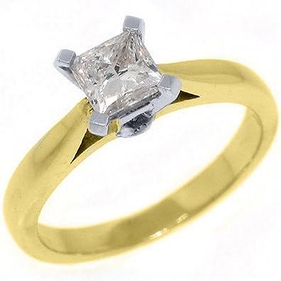 14k Yellow Gold 78 Carats Solitaire Princess Cut Diamond Engagement Ring Amazon Com