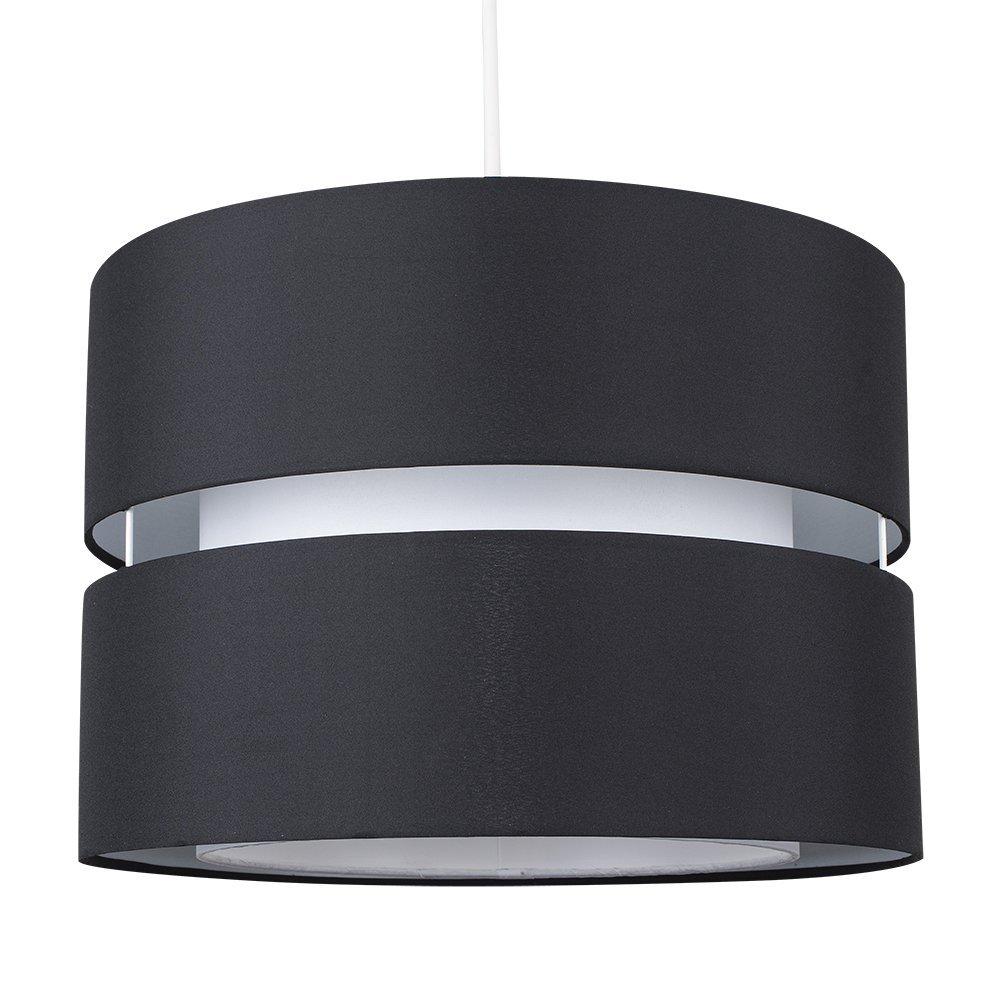 Modern Large 2 Tier Black & White Cylinder Ceiling Pendant Light ...
