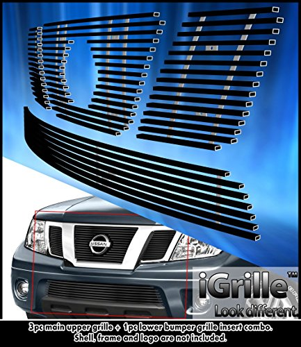 Pathfinder Billet (eGrille Matt Black Stainless Billet Grille Combo Fit 05-07 Nissan Pathfinder/05-08 Frontier)