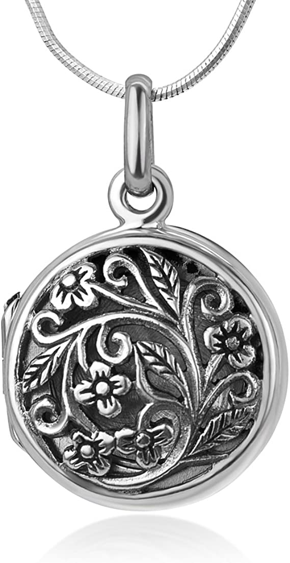 Sterling Silver Oxidized Filigree Oval Cross Simulated Lavender Pendant Charm