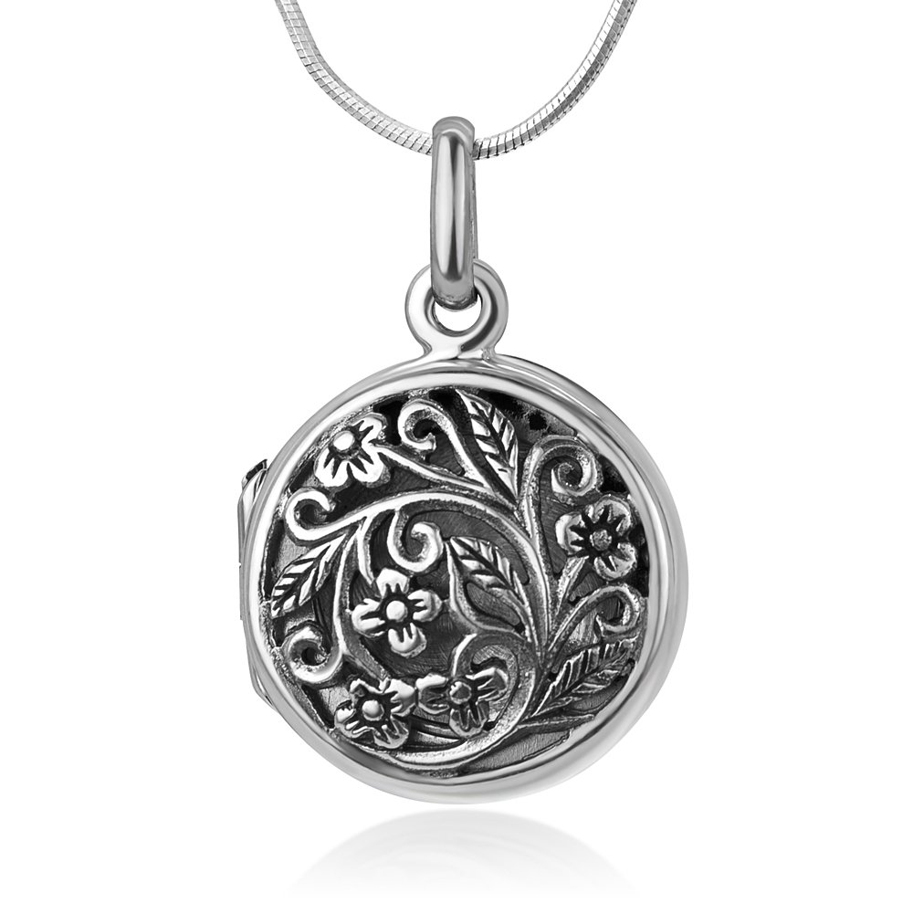 Chuvora 925 Oxidized Sterling Silver Open Filigree Vintage Flower Vine Round Locket Pendant Necklace, 18""